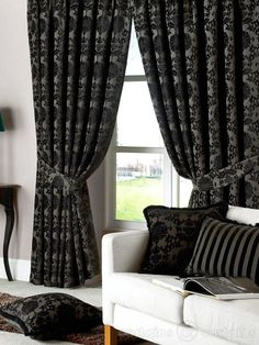 Dulux Luxury Heavy Thick Cut Velvet Black Eyelet Curtain - Curtains UK