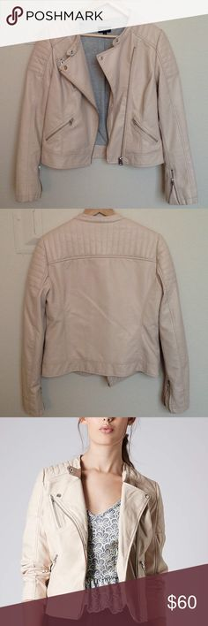 Topshop pink moto jacket (faux leather) In perfect condition! Inside has soft, gray jersey lining. Measurements: underarm to underarm 18in length 23in Topshop Jackets & Coats