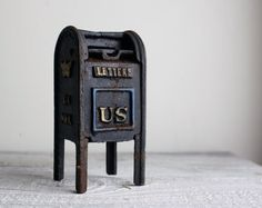 Vintage Cast Iron Mailbox Bank by shavingkitsuppplies on Etsy, $30.00