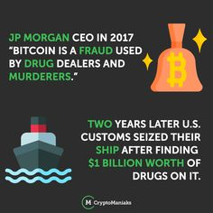 """U.S. authorities in Philadelphia seized a cargo vessel in June 2019 with nearly 20 tons of cocaine on board. The ship, as it turns out, is owned by a fund run by banking giant JPMorgan Chase.  Which is ironic because in 2017 CEO of JP Morgan sais """"Bitcoin is a Fraud used by Drug dealers and Murderers' Jpmorgan Chase, Blockchain, Euro, Drugs, Author, Philadelphia, Ship, Posts, Education"""