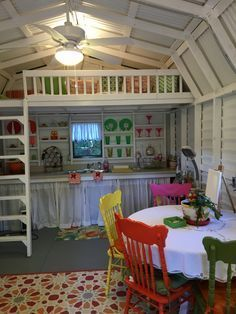 My husband built the stairs, railing and re-enforced the loft for more support. Backyard Sheds, Backyard Retreat, She Shed Decorating Ideas, Shed Playhouse, Girls Playhouse, Shed With Loft, Craft Shed, Shed Interior, Studio Shed