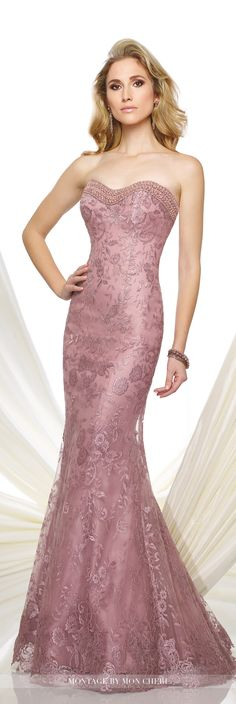 Formal Evening Gowns by Mon Cheri - Fall 2016 - Style No. 216961 - mauve strapless lace trumpet evening gown
