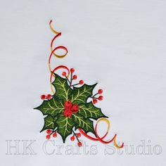 Christmas Holly Machine Embroidery Designd ornament pattern | Etsy Diy Embroidery Kit, Christmas Embroidery, Machine Embroidery Designs, Halloween Design, Halloween Cat, Teapot Crafts, Christmas Crafts, Christmas Decorations, Halloween Miniatures