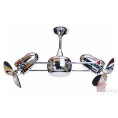 Ventilador de Teto Duplo Dinâmico 2 Motores Cromado - Gerbar