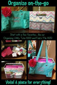 The Fold N' File and our popular Organizing Utility Tote make the perfect pair.  Great for teachers, realtors, business woman on-the-go!  Check out our new fall colors available! www.mythirtyone.com/lindsayrose