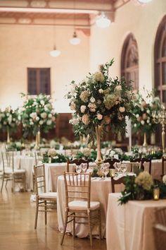 photographer: Shaun Menary Photography; Green, white and gold ballroom wedding reception idea;