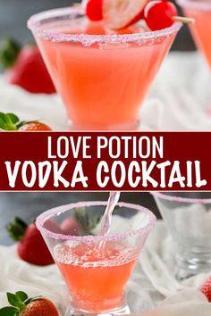 Love Potion Vodka Cocktail - The Chunky Chef Vodka Martini, Vodka Drinks, Fun Drinks, Beverages, Cocktail Drinks, Cocktails To Try, Summer Cocktails, Cosmopolitan Cocktail Recipes, Orange Vodka