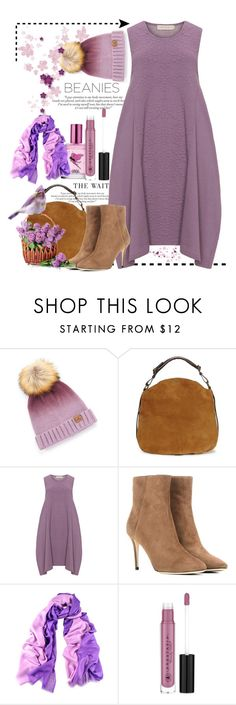 """""""Waiting for Spring"""" by conch-lady ❤ liked on Polyvore featuring Cheveux Corp., UGG, Isolde Roth, Jimmy Choo, Costa, Black, Anastasia Beverly Hills, beanies and waitingforspring"""