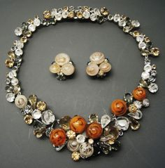 Rare-CHRISTIAN-DIOR-1958-FRUIT-SALAD-Poured-Art-Glass-Necklace-Earrings