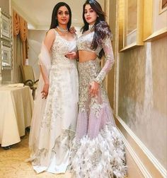 Twas a full Kapoor family affair at the Marwah scion's wedding celebrations. Sridevi and her daughters looked dreamy in Manish Mal. Indian Wedding Outfits, Pakistani Outfits, Indian Outfits, Indian Clothes, Mode Bollywood, Bollywood Fashion, Bollywood Style, Bollywood Dress, Lehnga Dress