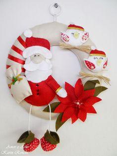 Guirlanda de Natal, em feltro e tecido - Papai Noel e passáros