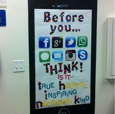 The THINK poster. Great hallway bulletin board for middle or high school Classroom Posters, Classroom Displays, Classroom Organization, Classroom Ideas, Counseling Posters, Counseling Office, Classroom Board, School Displays, Elementary Counseling