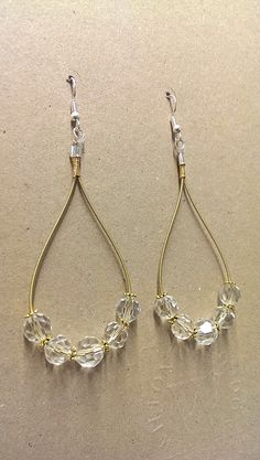 Gold Guitar String Earrings with Faceted Beads