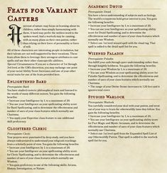Homebrewing spells Feats for Variant Casters - Cast Warlock spells with Intelligence and more! Warlock Dnd 5e, Warlock Spells, Dnd Cleric, Dungeons And Dragons Homebrew, D&d Dungeons And Dragons, Dnd Feats, Dnd Races, Dnd Classes, Dungeon Master's Guide