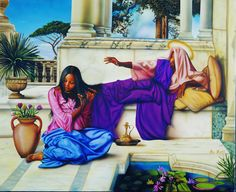 An image by Aaron and Alan Hicks depicting Mary washing Jesus' feet with her hair. Inspired by John 12:3