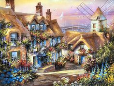 Cobblestone Crossing and the Mill by the Sea by Jim Mitchell