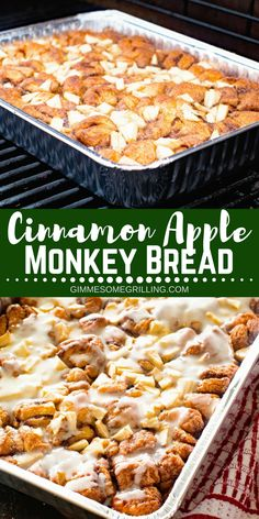 Easy and delicious Monkey Bread stuffed with tender, juicy apples and topped with icing. This Apple Monkey Bread on the grill is perfect for camping or mornings when you don't want to heat the house up! Camping Dishes, Camping Desserts, Camping Meals, Camping Cooking, Easy Camping Recipes, Backpacking Recipes, Easy Meals, Kayak Camping, Ultralight Backpacking