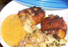 Nyúl főzve-sütve Tandoori Chicken, Bacon, Ethnic Recipes, Food, Essen, Meals, Yemek, Pork Belly, Eten