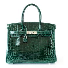 Hermes Birkin 30 Bag Emeraude Emerald Porosus Crocodile Palladium ❤ liked on Polyvore featuring accessories and hermès