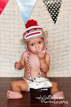 Items similar to Sock Monkey Earflap Hat Baby Toddler Child Girl Boy Photo Props on Etsy Monkey First Birthday, Monkey Birthday Parties, Baby Boy Birthday, Sock Monkey Party, Birthday Pictures, Birthday Ideas, Boy Photos, Baby Hats, Birthday Decorations