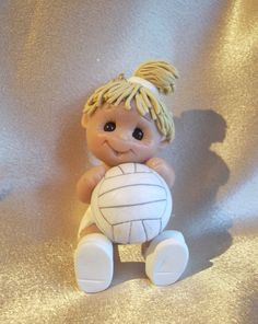 *POLYMER CLAY ~ volleyball Christmas Ornament  Personalized Gift  Polymer clay sculpture sports.