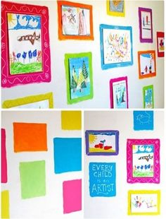 Squares of Color 16 Awesome Ways To Display Student Work School Displays, Classroom Displays, Displaying Childrens Artwork, Interior Design Degree, Artwork Display, Display Wall, Art For Kids, Kid Art, Art Children