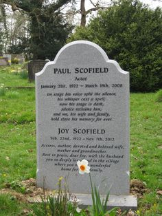 "Grave Marker- Paul Scofield (1922 - 2008) He appeared in ""A Man for All Seasons"", ""Quiz Show"" and other movies, he was also well known for his stage work"