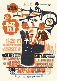 Bomboland promotional poster for Jazzin'it jazz music festival in Vignola, Modena Graphic Design Posters, Graphic Design Typography, Graphic Design Illustration, Graphic Design Inspiration, Poster Designs, Typography Images, Festival Jazz, Festival Posters, Concert Posters