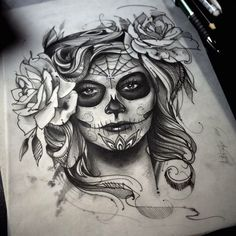 Best skull art tattoo sketches day of the dead ideas Tattoo Girls, Skull Girl Tattoo, Sugar Skull Tattoos, Girl Tattoos, Tattoos For Women, Sugar Skulls, Kunst Tattoos, Chicano Tattoos, Body Art Tattoos