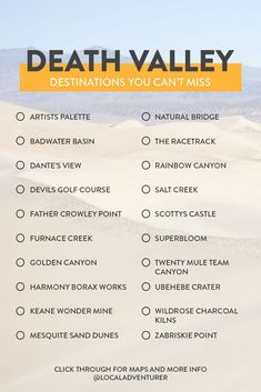Here are 15 Incredible Things to Do in Death Valley National Park and tips for your next visit. I strongly advise you go in the winter. The heat is no joke! Visit California, California Travel, Travel Oklahoma, Carpe Diem, Places To Travel, Places To See, Travel Destinations, California Tourist Attractions, Death Valley California