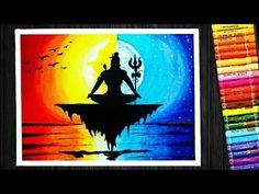 Oil Pastel Colorful Lord Shiva Sunset and Moonlight Scenery Drawing | for Beginners - YouTube