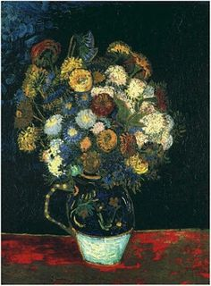 Vincent van Gogh Painting, Oil on Canvas Arles: August, 1888 Collection Basil P. and Elise Goulandris Lausanne, Switzerland, Europe F: JH: 1568 Van Gogh: Still Life: Vase with Zinnias Van Gogh Gallery Vincent Van Gogh, Monet, Art Van, Flores Van Gogh, Vase With Fifteen Sunflowers, Van Gogh Still Life, Van Gogh Flowers, Van Gogh Arte, Van Gogh Paintings