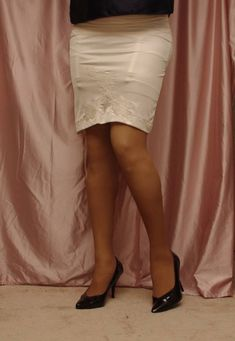 Visible Garter Bumps Under Ivory Half Slip Sheer Stockings and Black High Heels