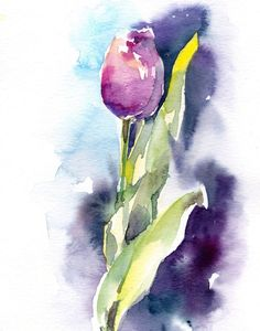 Tulip Watercolor Painting Art Print, Pink Tulip Painting, Modern Wall Art by CanotStopPrints on Etsy #watercolorarts
