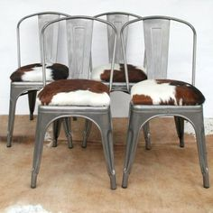 Cowhide Dining Chairs | ... Hide' Tolix Style Chair with Cowhide Seat Pad - London Cows Limited