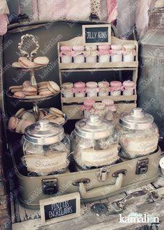 www.kamalion.com.mx - Candy Bar / Decoración / Vintage / Teddy / Pink & Gray / It's a girl / Dulces / Macarrones / Rosa & Gris / Dulces / Lecheros / Rústico / Pizarrón / Maletas / Jars.