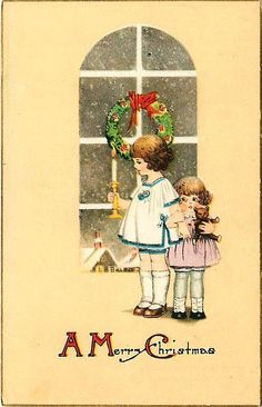 Christmas 1908 Children With Candle Bear Collectible Antique Vintage Postcard #Christmas