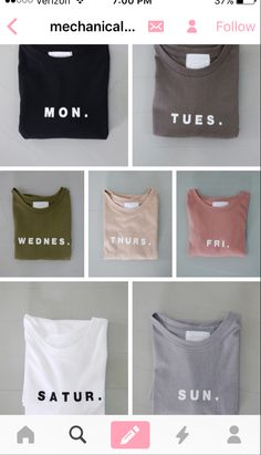 Shirts for each day of the week