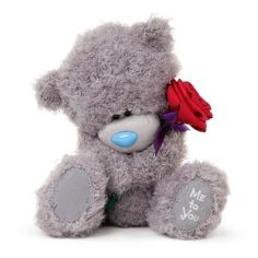Shop Me To You Tatty Teddy Bear Holding a Rose (Grey/ Red). Be My Valentine, Valentine Gifts, Bear Wallpaper, Screen Wallpaper, Blue Nose Friends, Diy Crafts For Gifts, Tatty Teddy, All Things Cute, Anniversary Cards