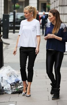 #gwynethpaltrow in black and white  & love the detail on the shoulder of the blue jumper!