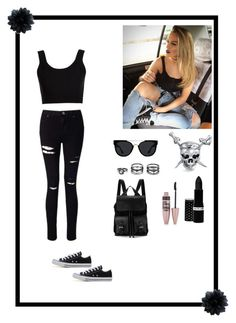 """I love black ◼️"" by ah2016 ❤ liked on Polyvore featuring Bling Jewelry, Quay, Miss Selfridge, Calvin Klein Collection, LULUS, Converse, Hard Candy, Maybelline and Aspinal of London"