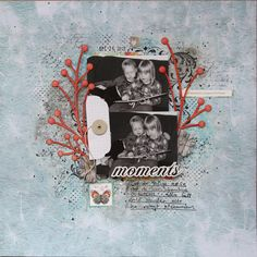 Mixed media scrapbook layout with chipboard