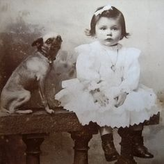 Antique photo ~ Little girl with her ugly dog