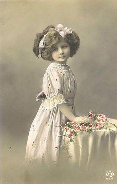 Vintage Postcard ~ Pretty Girl w/Flowers
