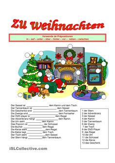 Zu Weihnachten. Nice Christmas-themed worksheet on two-way prepositions.