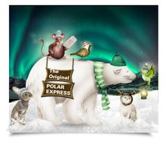 """""""Riding the Polar (Bear) Express"""" by collagette ❤ liked on Polyvore featuring art"""