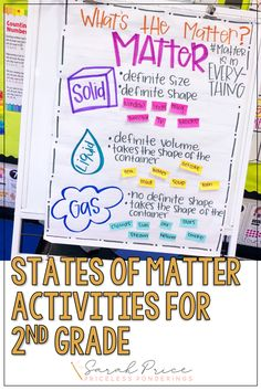 Grab a simple guide to teaching states of matter. This states of matter anchor chart for second grade will have your students excited to learn about the different properties of matter. Water Cycle Activities, Matter Activities, Science Activities, Student Learning, Teaching Kids, Changes In Matter, Matter Worksheets, Science Anchor Charts, New Vocabulary Words
