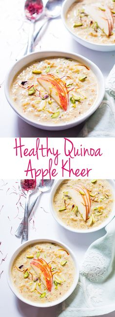 Healthy quinoa apple kheer is a low calorie Indian dessert which is perfect for a summer evening! It's nutritious because of the fruit and quinoa and topped with pistachios, it's elegant and really light! Indian Dessert Recipes, Indian Sweets, Ethnic Recipes, Quinoa Indian Recipes, Fruit Recipes, Vegan Recipes, Cooking Recipes, Food Styling, Healthy Snacks