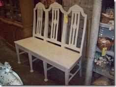 Chair Bench.....See, Joe, I told you it was a good idea to save my antique kitchen chairs - I am so doing this