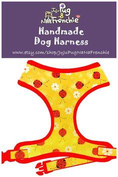 Ladybug & Daisy dog harness, Girl dog harness, Handmade custom dog harness #pugharness #dogharness #Frenchbulldog #Frenchieharness